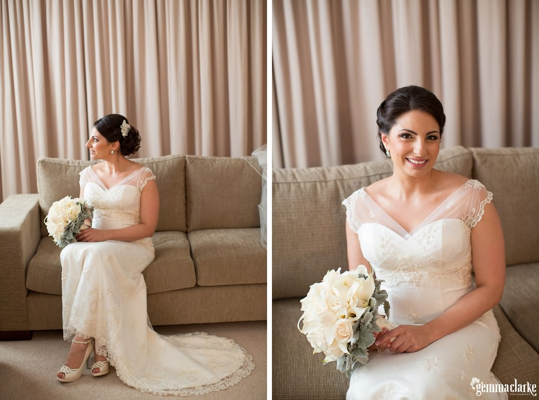 A bride posing with her bouquet on a couch - Royal Botanic Gardens Wedding
