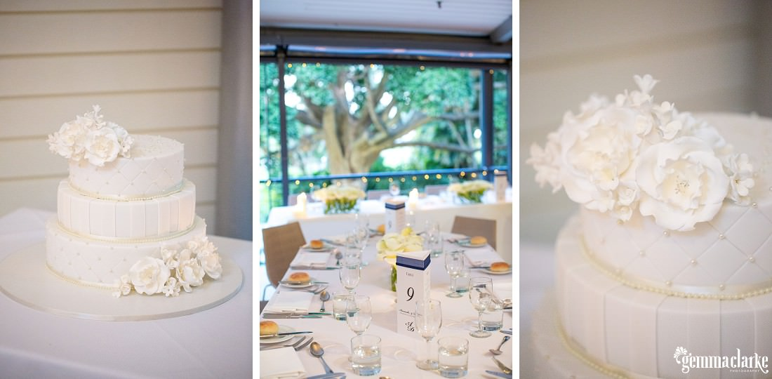 Wedding reception table settings and a three tiered white wedding cake with white flowers - Royal Botanic Gardens Wedding