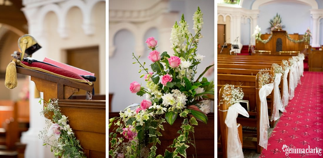 Church wedding setup with white pew bows and pink and white roses - Parramatta Wedding