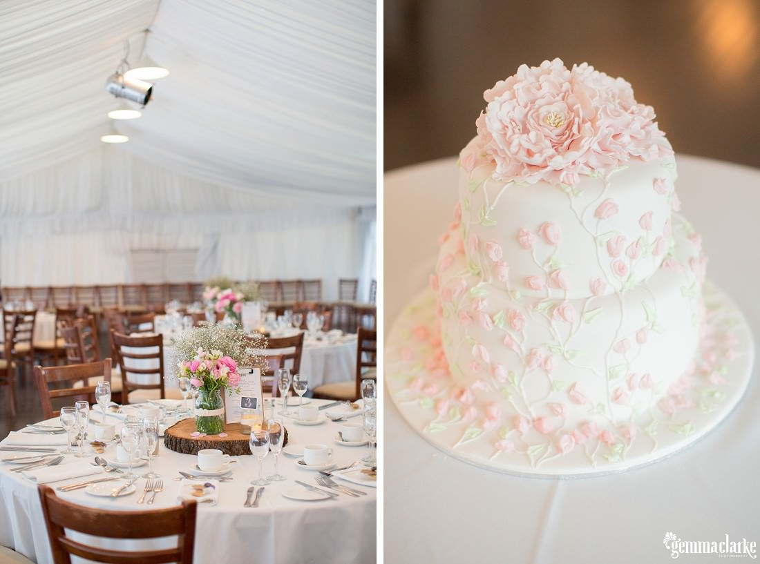 A wedding reception setup with floral centrepieces, and a white two tiered wedding cake with flower decorations down the sides and flowers on top - Parramatta Wedding