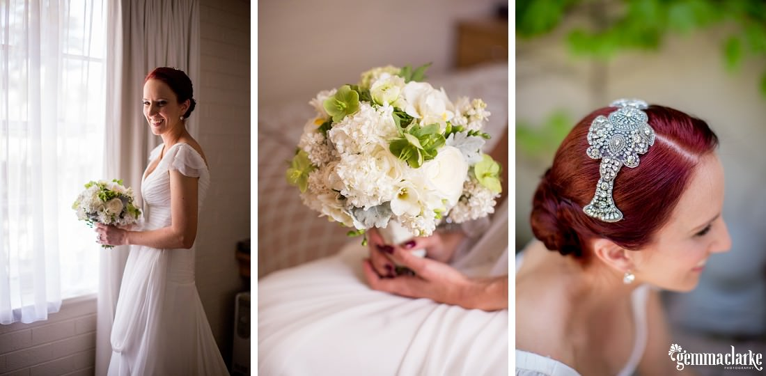 A bride posing and showing off her bouquet and headpiece - Biota Dining Wedding
