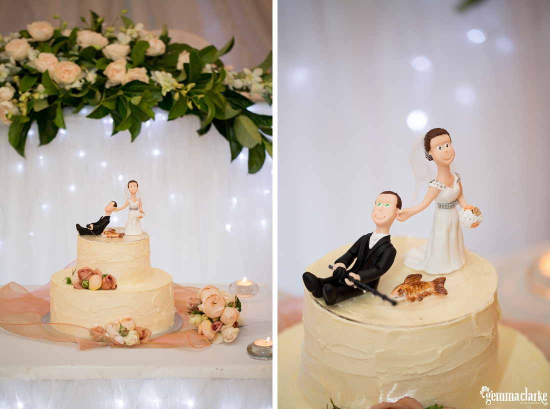 Cake with cake topper of bride dragging her groom by the ear - Western Sydney Wedding