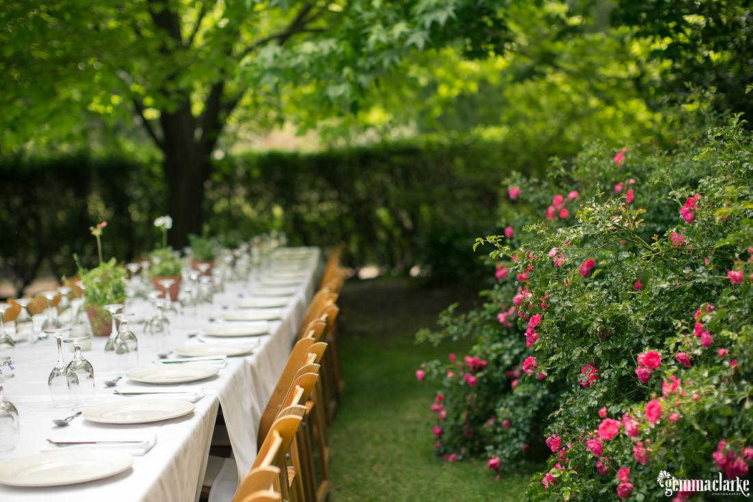 A wedding reception setup in a backyard garden - Backyard Wedding