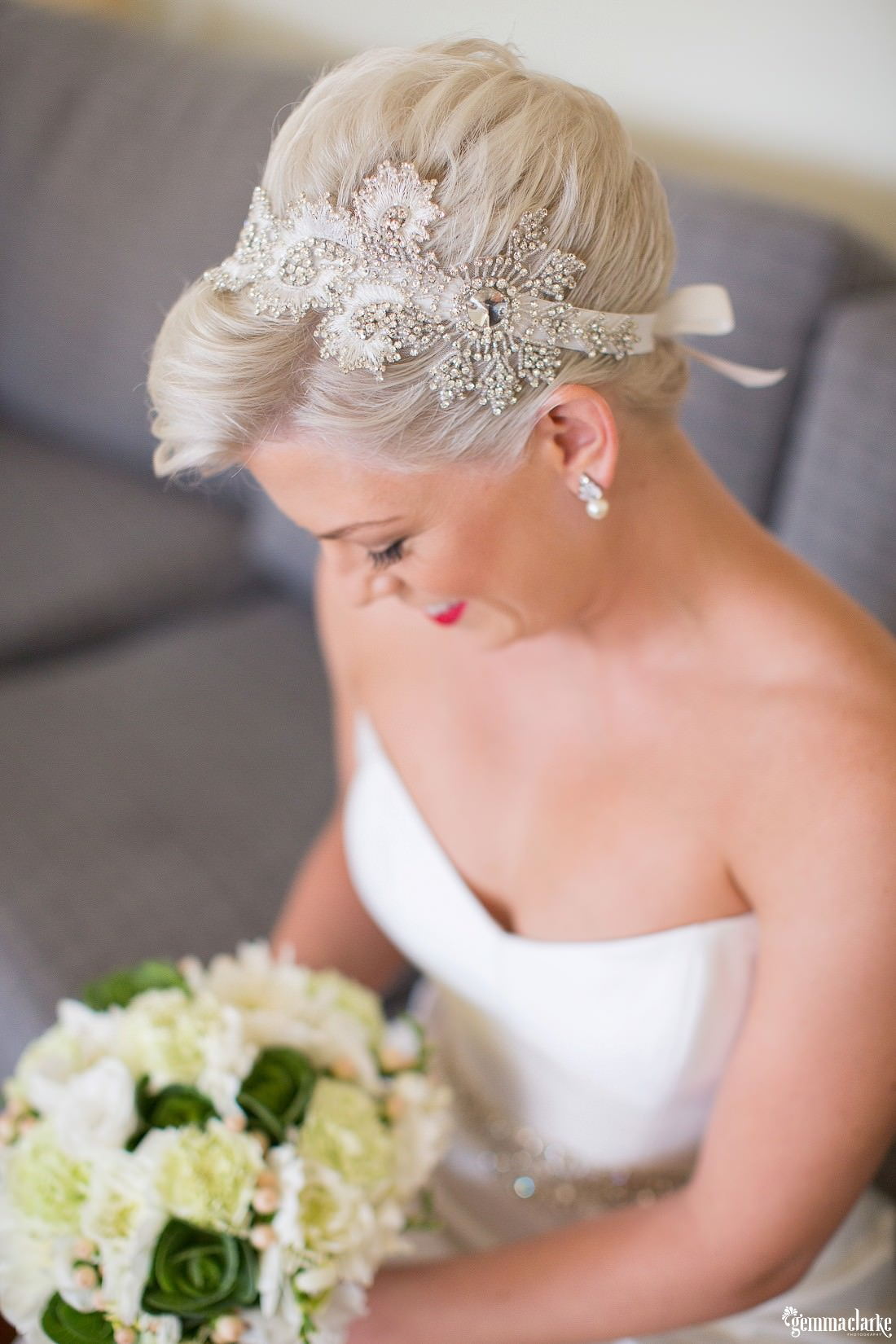 A bride's hair and hairpiece - Lake Macquarie Wedding