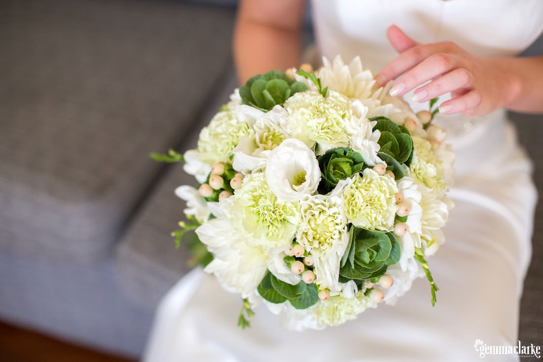 A bride's white, green and pale green bouquet - Lake Macquarie Wedding