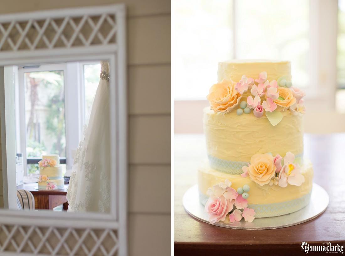 Three tier buttercream cake with pastel flower decoration - Merribee Wedding