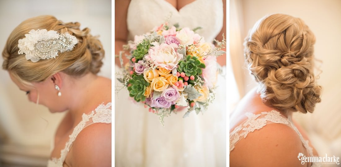 A bride's bouquet, hairstyle and hairpiece - Merribee Wedding