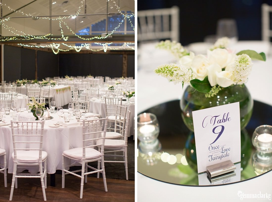 Reception setup and table centrepieces - Hunter's Hill Wedding