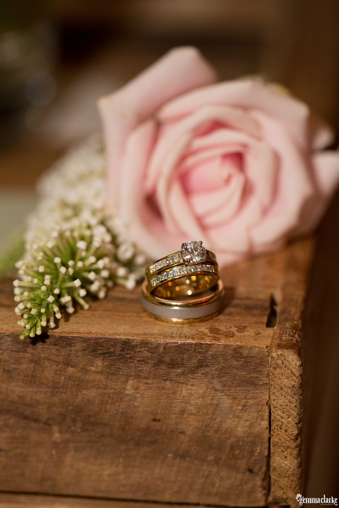 A bride and groom's rings - Hunter's Hill Wedding