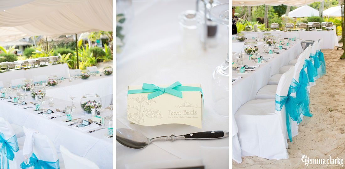 Table settings and reception details - South Pacific Wedding