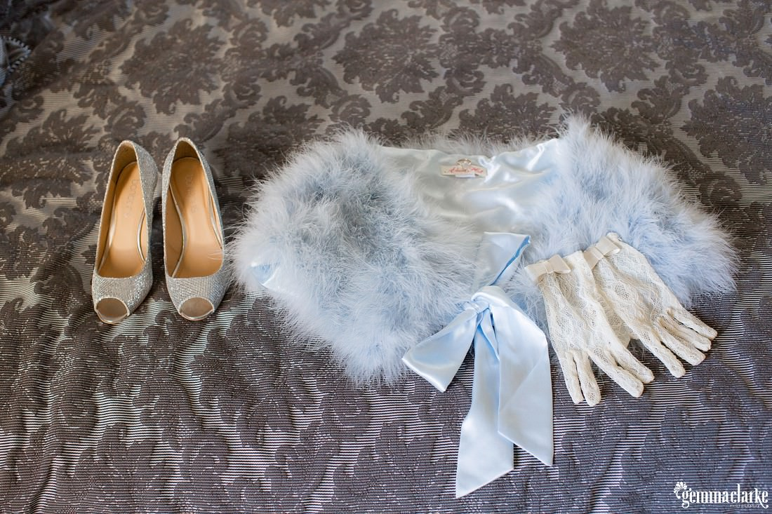 A bride's faux-fur wrap, gloves and shoes - Autumn Southern Highlands Wedding