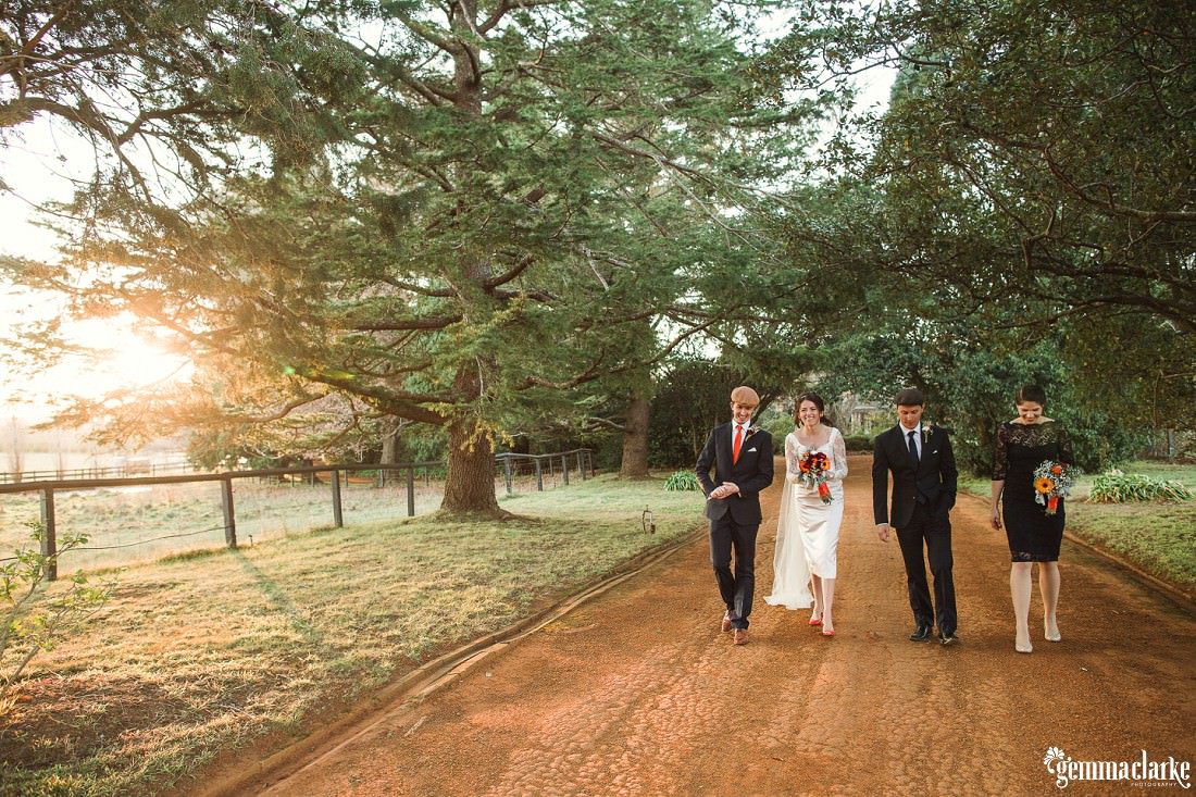 A bridal party walk down a dirt road amongst large trees as the sun streams in behind - Southern Highlands Winter Wedding
