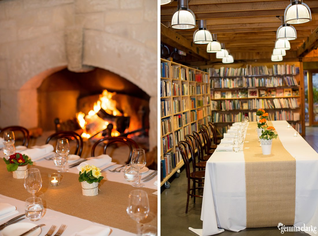 Table settings and decorations in the Book Barn at Bendooley Estate - Southern Highlands Winter Wedding