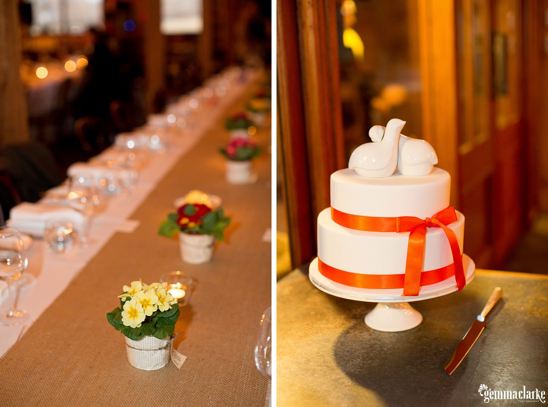 A two tiered white wedding cake wrapped in orange ribbons and topped with two white ceramic doves - Southern Highlands Winter Wedding