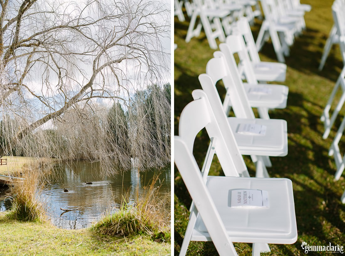 White chairs setup for a wedding ceremony by a lake - Bowral Winter Wedding