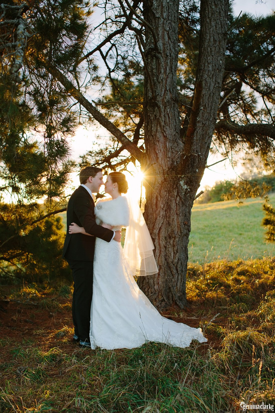 A bride and groom embrace under a tree as the sun streams in behind them - Bowral Winter Wedding