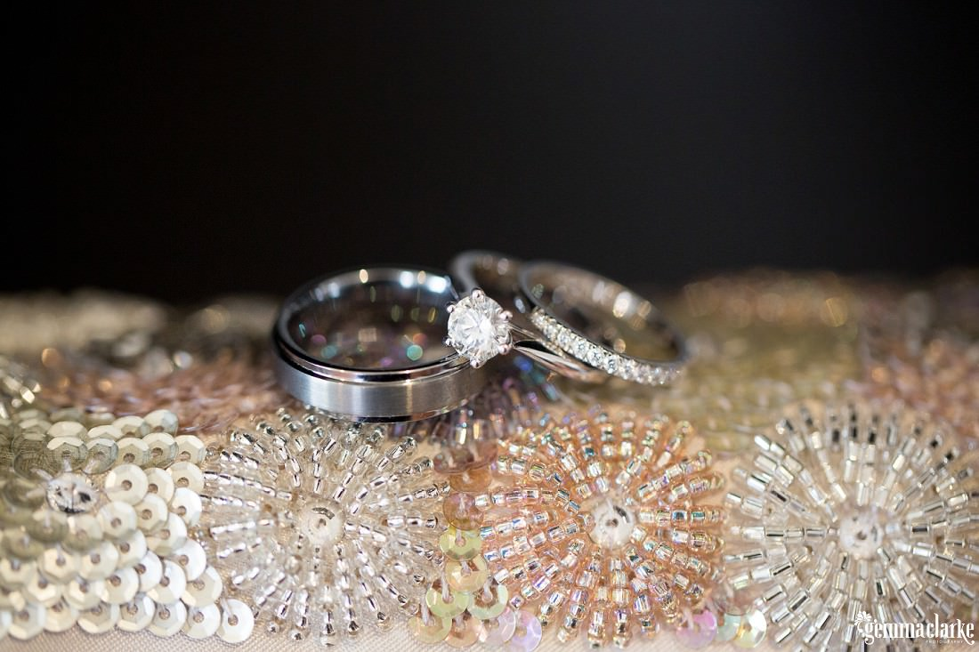 A close up of a bride's rings - Woolwich Wedding