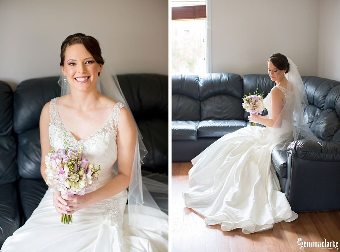 A smiling bride in long white flowing gown posing on a couch - Woolwich Wedding