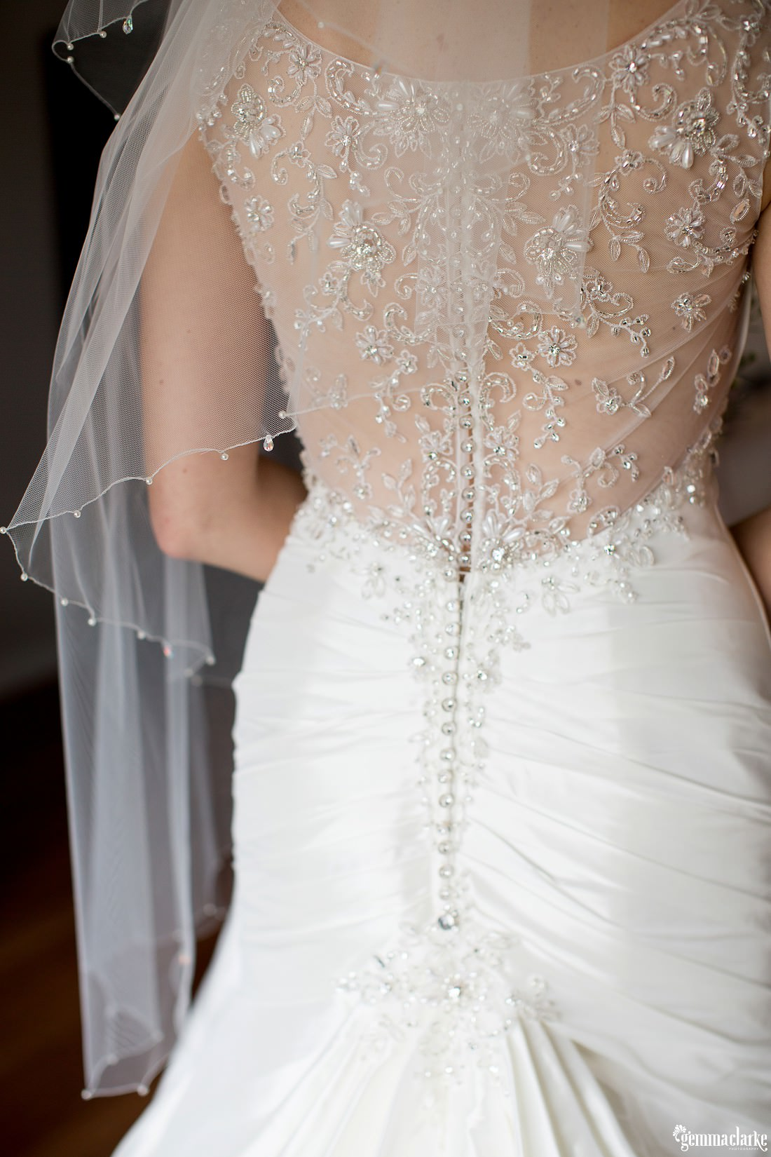 Lovely detail in back of bridal gown - Woolwich Wedding