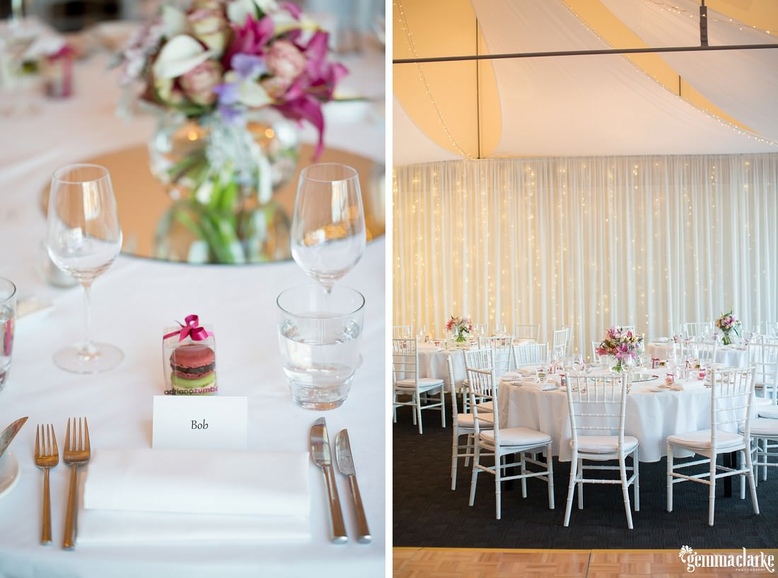White table settings and reception setup with floral decorations - Woolwich Wedding