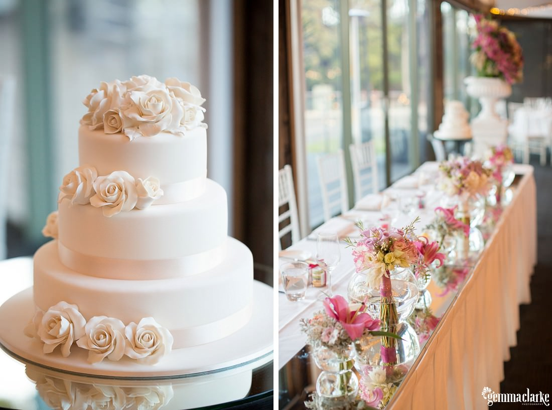Three tier white wedding cake with white flowers - Woolwich Wedding