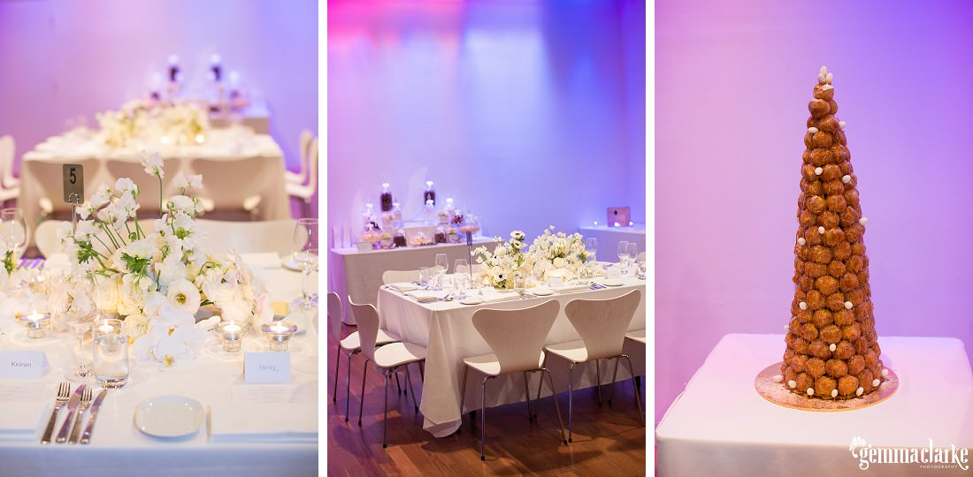 Table placings and details of a wedding reception with colourful lights - Vaucluse House Wedding