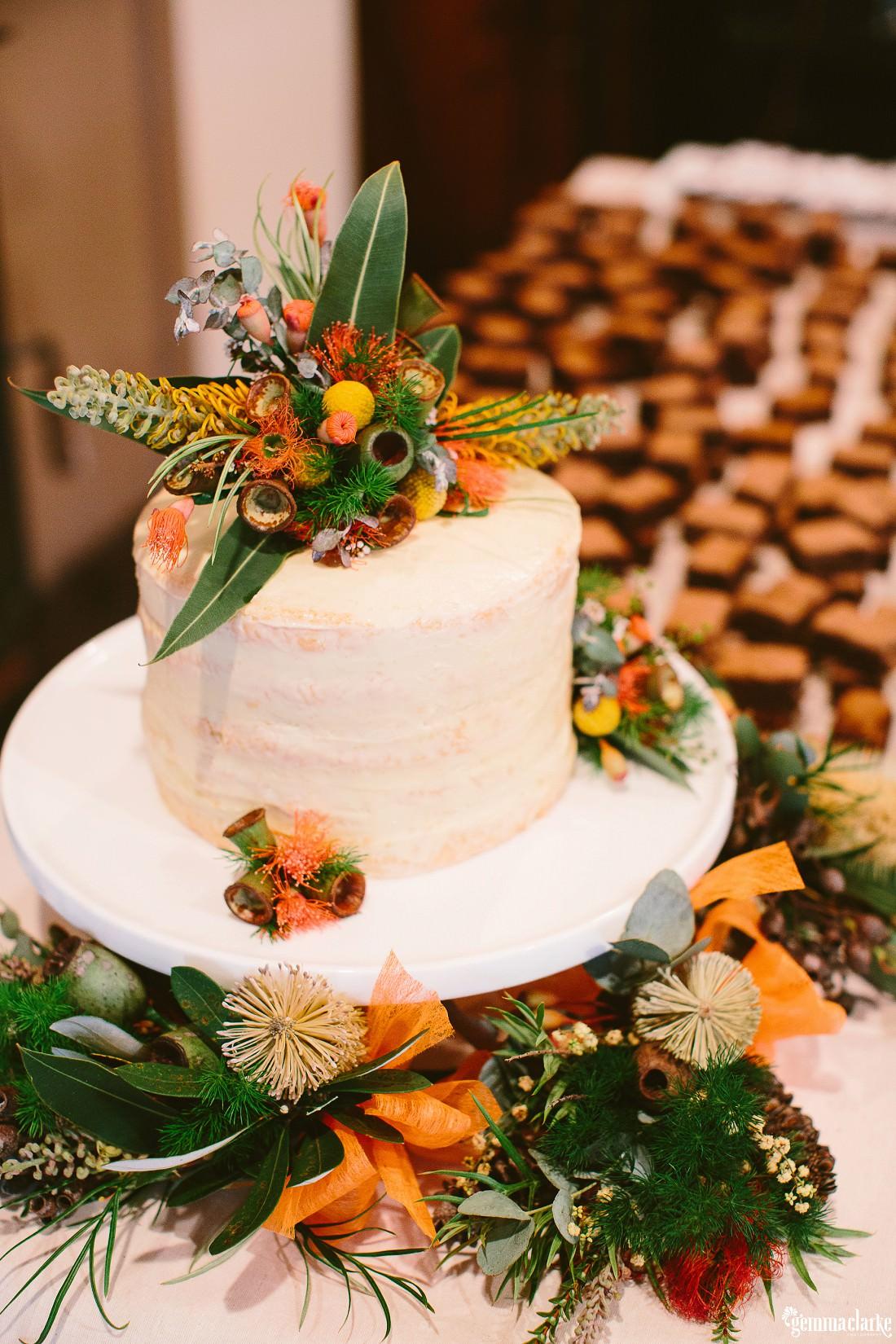 One tier naked wedding cake with native flowers - Kangaroo Valley Bush Retreat