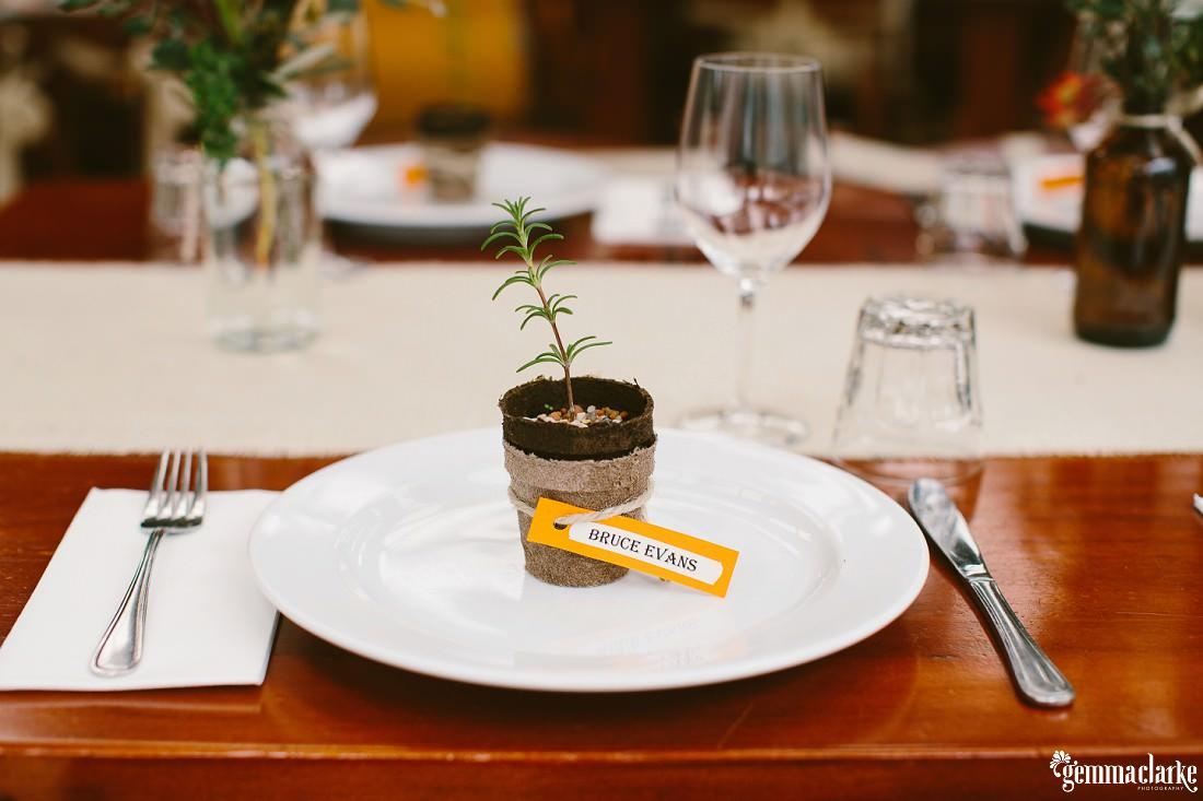 Pot plant table setting with name card - Kangaroo Valley Bush Retreat