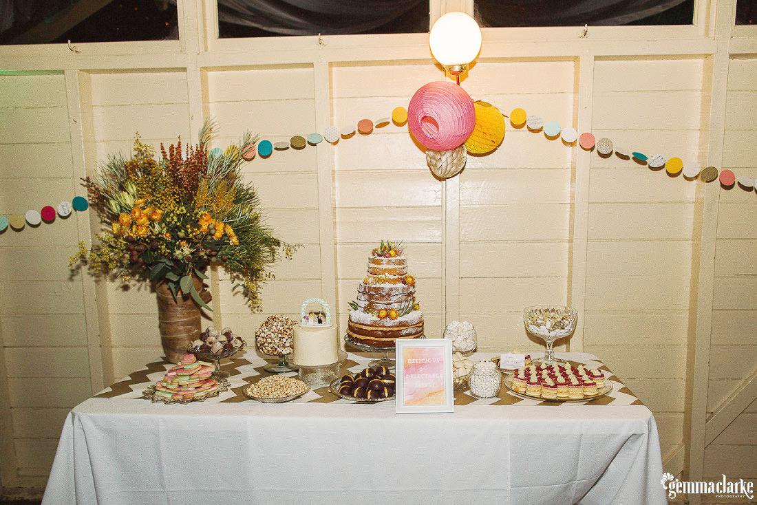 A yummy desert table at Athol Hall - Fun Sydney Wedding