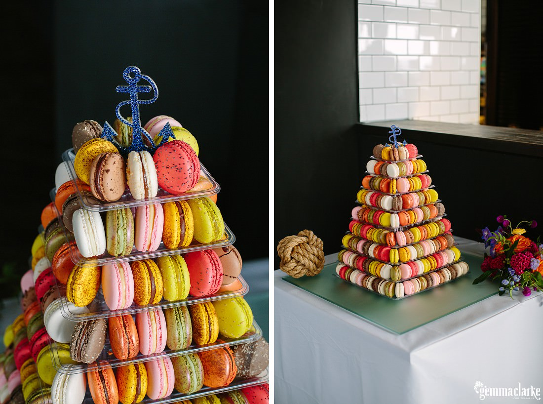 """A pyramid of macaroons """"cake"""" - The Theatre Bar at the End of the Wharf Wedding"""