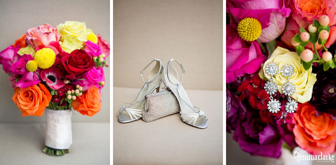 A bride's bouquet, shoes, purse and earrings - Wedding in the Rocks