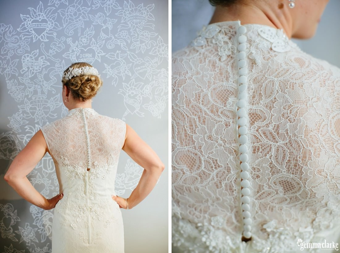 The back of a bridal gown with lovely detail