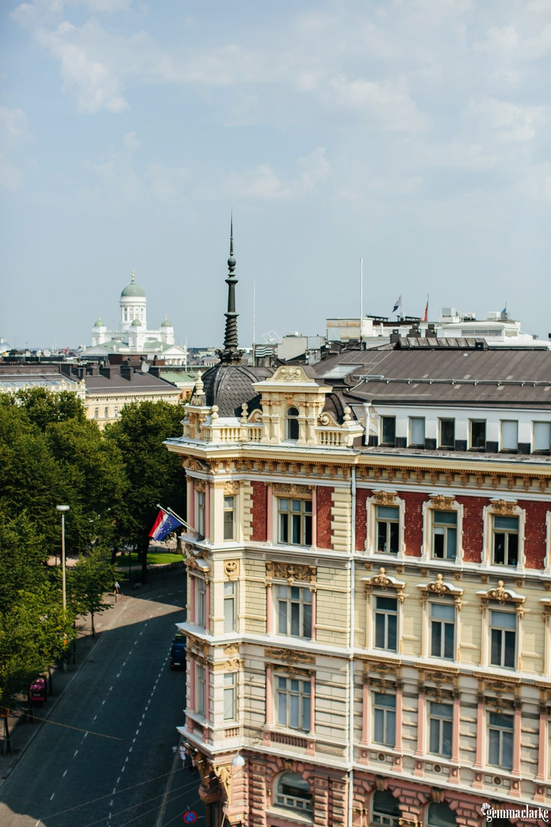 A historic Helsinki building as seen from the rooftop of a nearby hotel