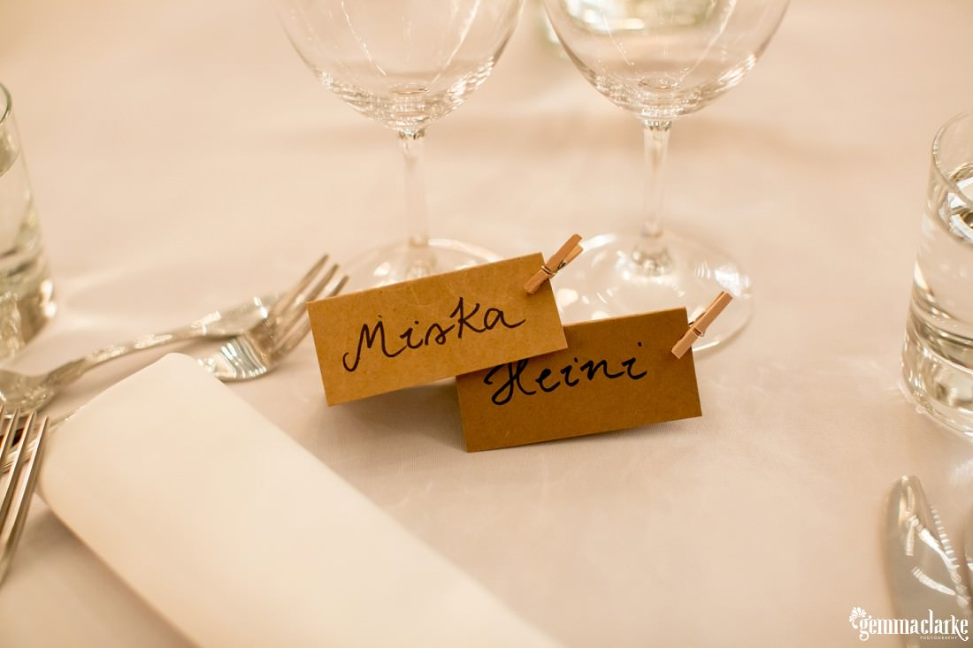 Bride and groom's name tags at the bridal table at their wedding reception