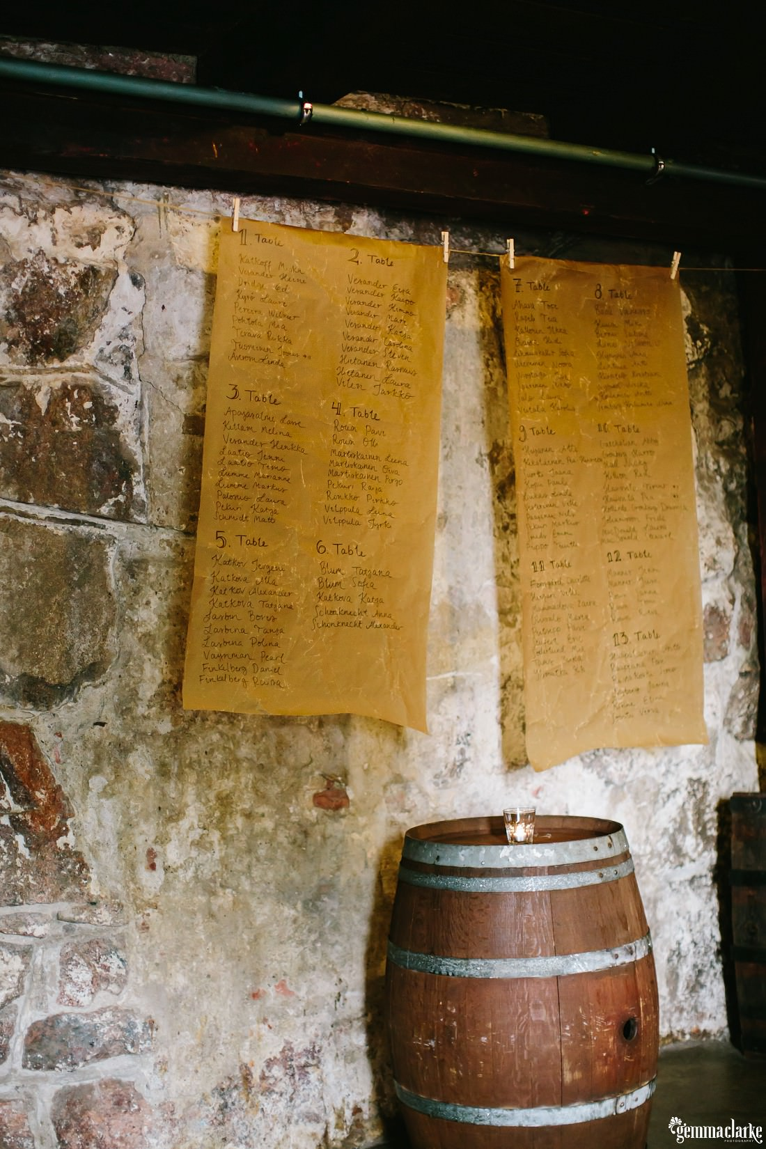 Seating arrangement signs hung in front of a stone wall near a wooden barrel