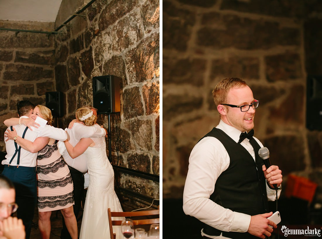 Bride and groom being hugged by guests and another guest making a speech