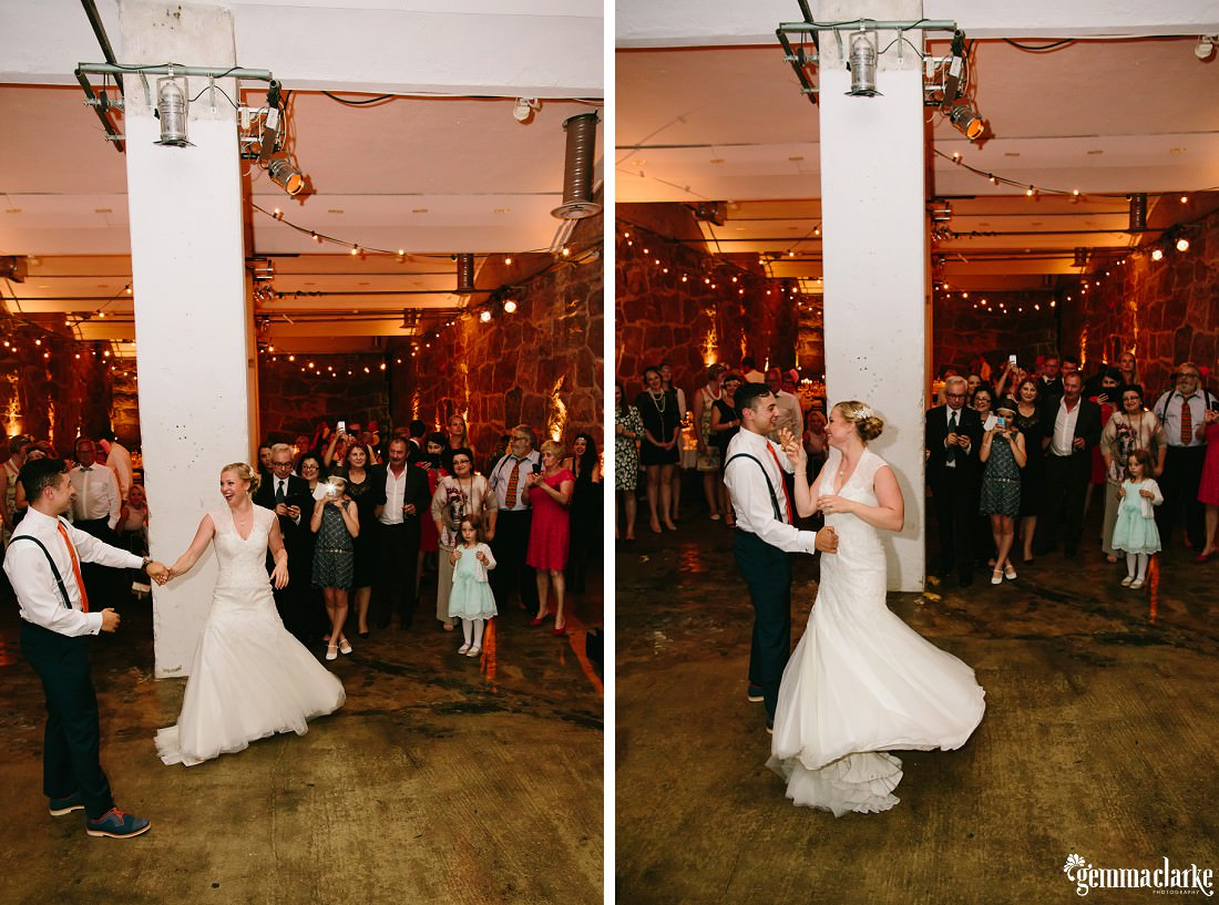 A bride and groom dancing at their reception