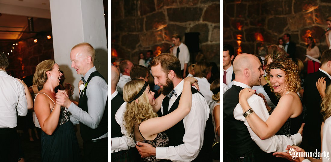 Wedding guests dancing at a reception