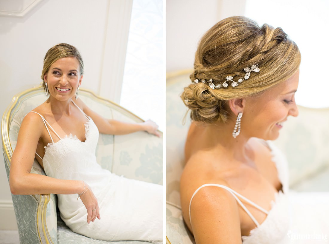 A bride poses on a chair, and a close up of her earrings and hairpieces - Jaspers Wedding