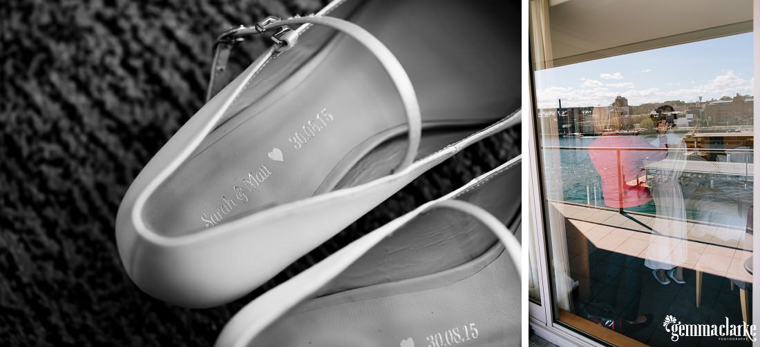 A view through a window of a bride having her hair done, and a close up of the inside of her bridal shoes with her and her groom's names and wedding date