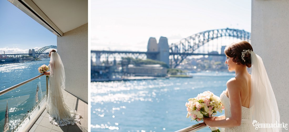 A bride on a balcony overlooking Sydney Harbour