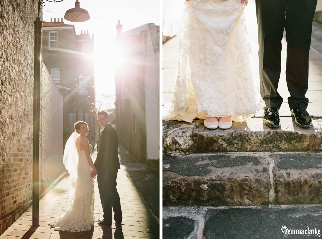A bride and groom holding hands and smiling while looking back over their shoulders in an alley way with sun streaming in behind them, and a close up of a bride and groom's shoes as they stand on stone steps