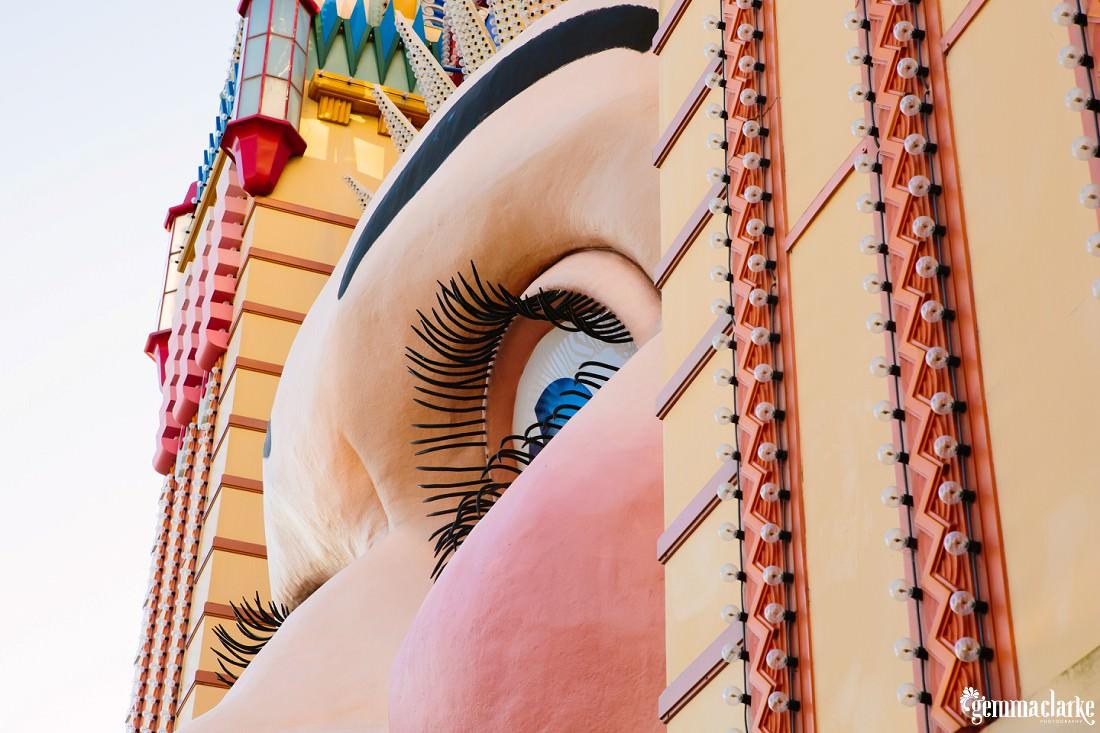 A close up of the famous Luna Park Face