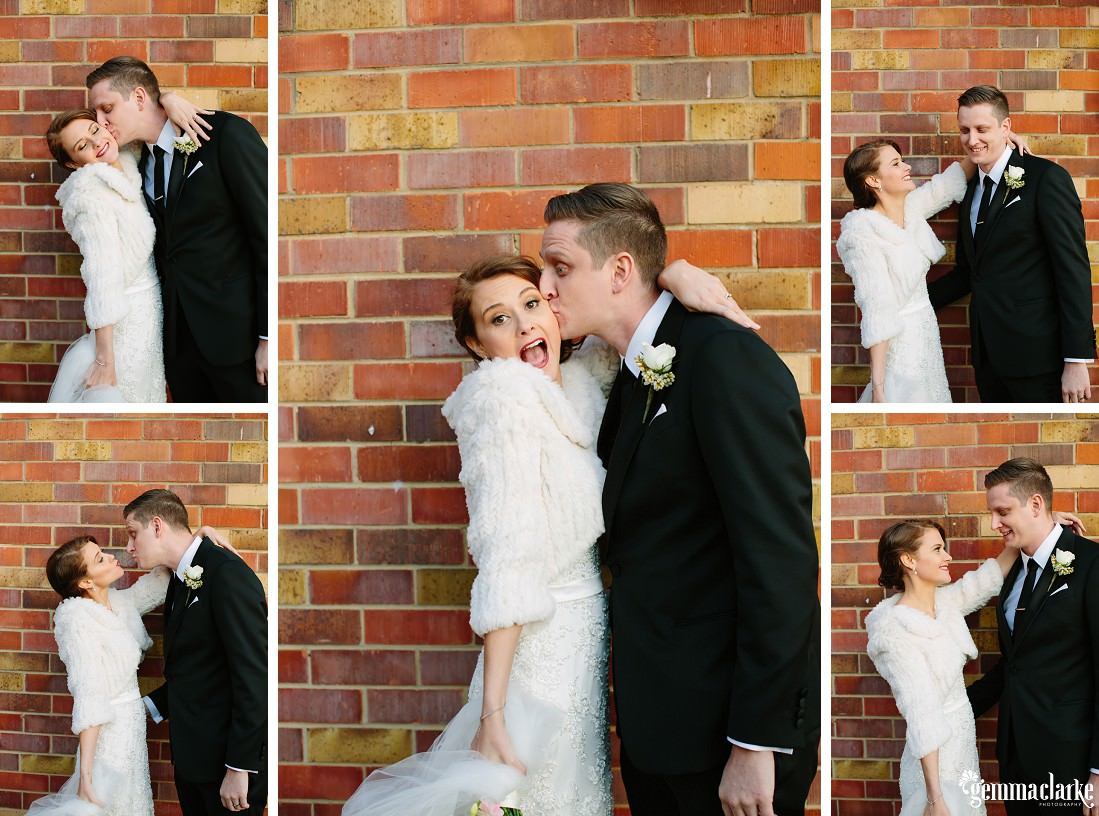 A bride and groom in various fun poses in front of a brick wall