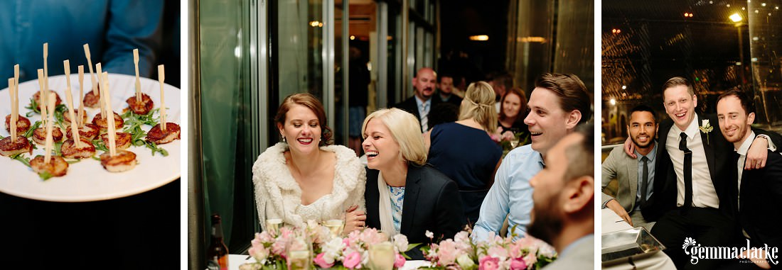 A plate of canapés, and the bride and groom sharing moments with some of their wedding guests