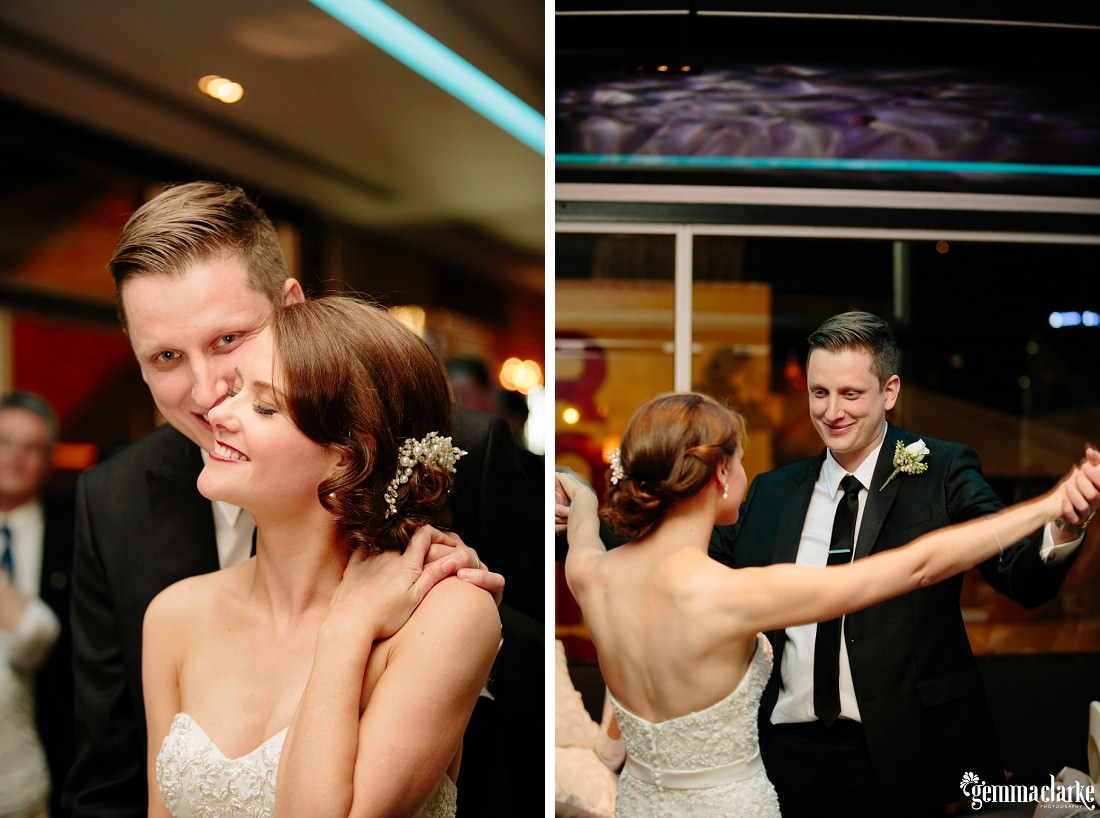 A bride and groom sharing their first dance at their wedding reception
