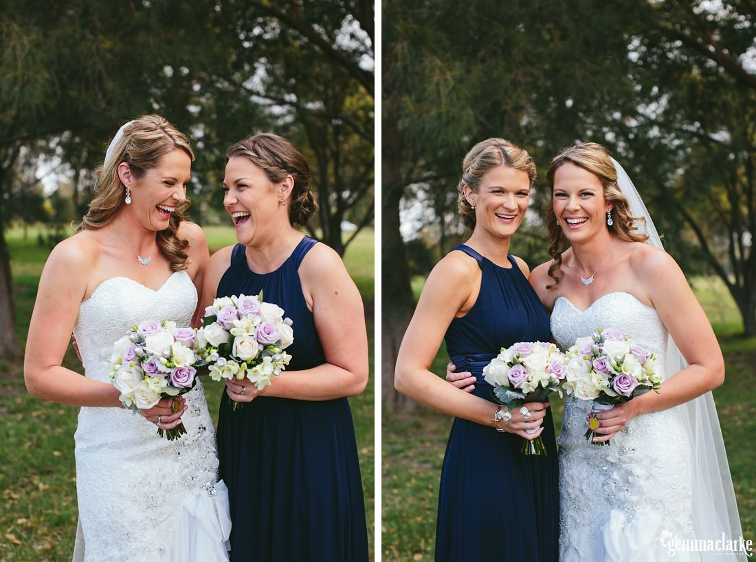 A bride laughing and smiling with her bridesmaids
