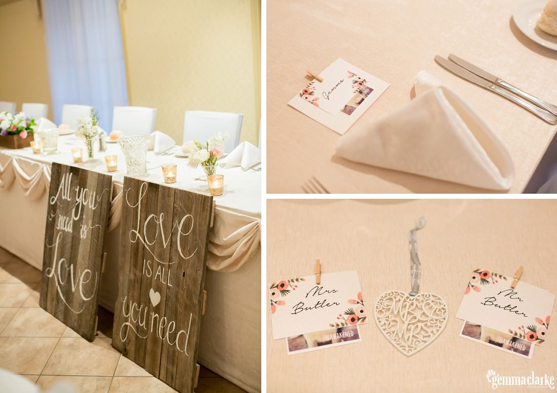 Various details at a wedding reception including place cards and wooden signs