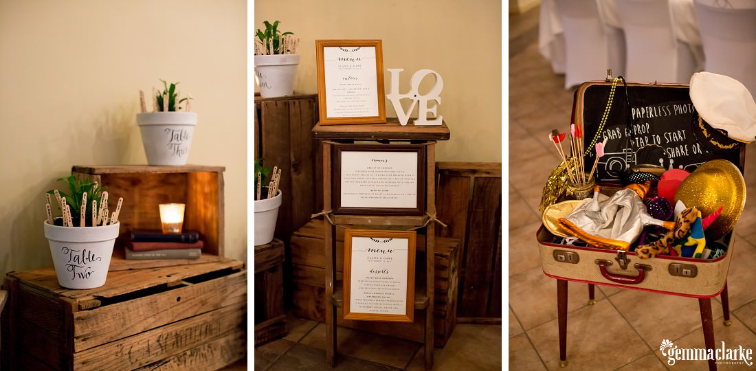 Plants on wooden boxes and photo booth props