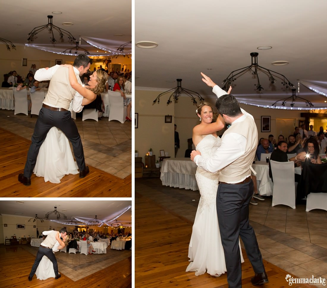 A bride and groom putting on the moves during their first dance